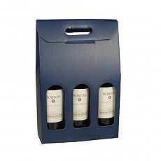 Wein-Tragekartons mit Sichtfenster 37,5 cm x 25 cm x 9 cm blau für 3 Flaschen, Papstar (10227), 20 Stück