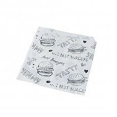 Hamburger-Tüten, Pergament-Ersatz 13,5 cm x 13 cm weiss mit rotem Schriftzug, fettdicht, Papstar (11515), 1000 Stück