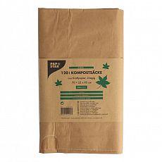 Papstar Kompostsäcke aus Papier 120 l 110 cm x 68 cm x 21,5 cm braun, 14182, 30 Stück