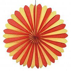 Dekofächer Ø 60 cm rot, gelb, rot schwer entflammbar, Papstar (19382), 10 Stück