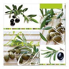 Servietten, 3-lagig 1/4-Falz 33 cm x 33 cm Olives, Papstar (81572), 180 Stück
