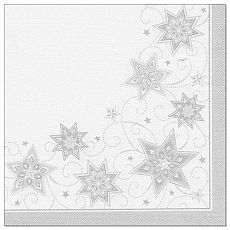 Servietten ROYAL Collection 1/4-Falz 40 cm x 40 cm weiss Just Stars, Papstar (82351)