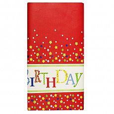 Tischdecke, Papier 120 cm x 180 cm Happy Birthday lackiert, Papstar (82594), 15 Stück