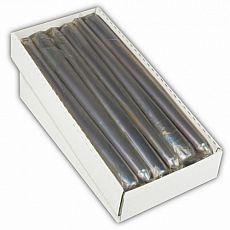 Papstar Leuchterkerze Ø 2,2 cm, 25 cm silber einzeln cellophaniert, 82655, 12 Stück