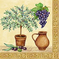 Servietten, 3-lagig 1/4-Falz 33 cm x 33 cm Tuscan Culture, Papstar (82728), 200 Stück