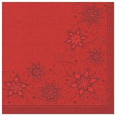 Papstar Servietten ROYAL Collection 1/4-Falz 48 cm x 48 cm rot Just Stars, 82850, 250 Stück