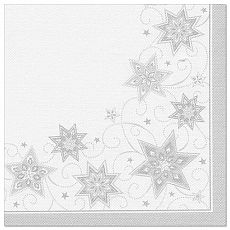 Servietten ROYAL Collection 1/4-Falz 48 cm x 48 cm weiss Just Stars, Papstar (82851), 250 Stück
