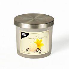 Duftkerze im Glas Ø 84 mm, 75 mm creme - Sweet Vanilla satiniert, mit Metalldeckel, Papstar (83117)