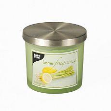 Duftkerze im Glas Ø 84 mm, 75 mm hellgrün - Lemongrass satiniert, mit Metalldeckel, Papstar (83120)