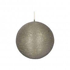 Papstar Kugelkerze rund Ø 8 cm grau Rustic Glitter, 84431, 6 Stück