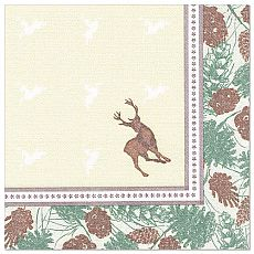 Servietten ROYAL Collection 1/4-Falz 40 cm x 40 cm Majestic Deer, Papstar (85654)