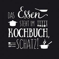 Servietten, 3-lagig Design Edition 1/4-Falz 33 cm x 33 cm Kochbuchregel, Papstar (86007), 180 Stück