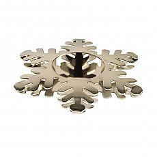 Papstar Kerzenhalter, Edelstahl Ø 110 mm silber Snowflake für Teelichte, 86521, 6 Stück