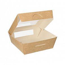 Feinkostboxen, Pappe mit Sichtfenster aus PLA pure eckig 750 ml 14 cm x 14 cm x 5 cm braun, Papstar (86573), 100 Stück