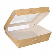 Feinkostboxen, Pappe mit Sichtfenster aus PLA pure eckig 1500 ml 19 cm x 19 cm x 5 cm braun, Papstar (86575), 100 Stück