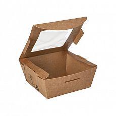 Feinkostboxen, Pappe mit Sichtfenster aus PLA pure eckig 350 ml 4,5 cm x 9 cm x 9 cm braun 100% Fair, Papstar (87250), 480 Stück