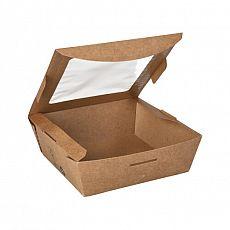 Feinkostboxen, Pappe mit Sichtfenster aus PLA pure eckig 650 ml 4,5 cm x 12 cm x 12 cm braun 100% Fair, Papstar (87251), 120 Stück