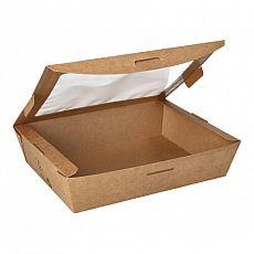 Feinkostboxen, Pappe mit Sichtfenster aus PLA pure eckig 1000 ml 4,5 cm x 18 cm x 13 cm braun 100% Fair, Papstar (87252), 160 Stück