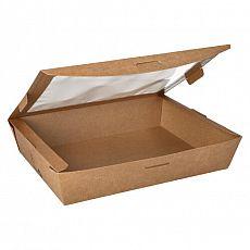 Feinkostboxen, Pappe mit Sichtfenster aus PLA pure eckig 1500 ml 4,5 cm x 21 cm x 16 cm braun 100% Fair, Papstar (87253), 120 Stück