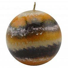 Design-Kugelkerze Fuzzy-Stripes Handarbeit Ø 10 cm orange, tradingbay24 (tb00005)