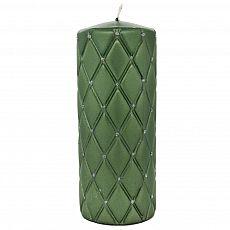 Elegance-Stumpenkerze Diamant mit Glitzerelementen Handarbeit Ø 7 cm, 18 cm glänzend grün, tradingbay24 (tb00116)