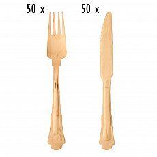Einwegbesteck-Set aus Holz Vintage 100 teilig (je 50 Holzgabeln, Holzmesser), tradingbay24 (tbK0033)