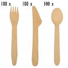 Einwegbesteck-Set aus Holz 300 teilig (je 100 Holzgabeln, Holzmesser, Holzlöffel), tradingbay24 (tbK0034)