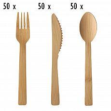 Einwegbesteck-Set aus Bambus 150 teilig (je 50 Holzgabeln, Holzmesser, Holzlöffel), tradingbay24 (tbK0036)