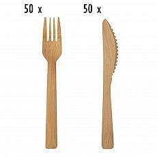 Einwegbesteck-Set aus Bambus 100 teilig (je 50 Holzgabeln, Holzmesser), tradingbay24 (tbK0037)