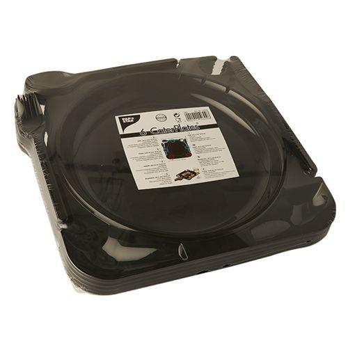 48 schwarze Cater Plates PS 27 cm x 26,5 cm x 2,8 cm Einwegteller Besteck