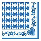 Servietten 1/4-Falz 40 cm x 40 cm Bayrisch Blau, Papstar (10646)