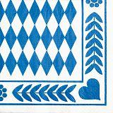 Servietten, 3-lagig 1/4-Falz 33 cm x 33 cm Bayrisch Blau, Papstar (12901)