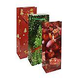 Lacktragetaschen, Flasche 36 cm x 13 cm x 9 cm Weihnachten, Papstar (14518), 50 Stück