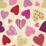 Servietten, 3-lagig 1/4-Falz 33 cm x 33 cm Colourful Hearts, Papstar (16582), 200 Stück