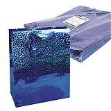Lacktragetasche, Groß 32 cm x 26 cm x 13 cm blau Holografie, Papstar (19168), 50 Stück