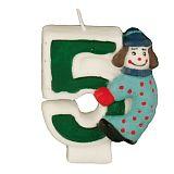 Zahlenkerze 8 cm 5 Clown, Papstar (19415), 12 Stück