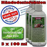 Hygienische Händedesinfektion mit Aloe Vera Desinfektionsmittel, DEXAN, 3 x 100 ml
