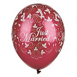 Luftballons Ø 29 cm bordeaux Just Married metallic, Papstar (81946)