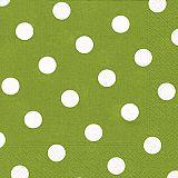 Servietten, 3-lagig 1/4-Falz 40 cm x 40 cm olivgrün Dots, Papstar (81961), 200 Stück