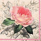 Servietten, 3-lagig 1/4-Falz 33 cm x 33 cm Charming Rose, Papstar (82129), 200 Stück