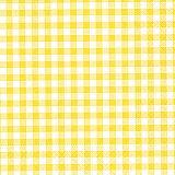 Servietten, 3-lagig 1/4-Falz 33 cm x 33 cm gelb Vichy Karo, Papstar (82762), 360 Stück
