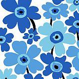 Papstar Servietten, 3-lagig 1/4-Falz 33 cm x 33 cm blau Flower Power, 82952, 360 Stück