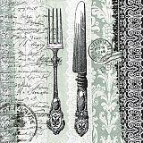 Papstar Servietten, 3-lagig 1/4-Falz 33 cm x 33 cm Sterling Cutlery, 82990, 200 Stück