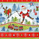 Servietten, 3-lagig 1/4-Falz 33 cm x 33 cm Christmas Fun, Papstar (84230), 300 Stück