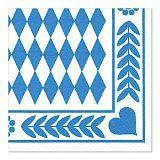 Servietten, 3-lagig 1/4-Falz 33 cm x 33 cm Bayrisch Blau, Papstar (84477)