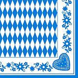 Servietten, 3-lagig 1/4-Falz 40 cm x 40 cm Bayrisch Blau, Papstar (84489)
