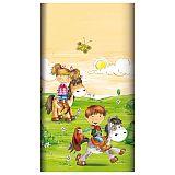 Tischdecke, Papier 120 cm x 180 cm Pony Farm lackiert, Papstar (84707), 15 Stück