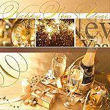 Servietten, 3-lagig 1/4-Falz 33 cm x 33 cm Happy New Year, Papstar (85052), 300 Stück