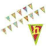 Wimpelkette, Papier 4 m Happy Birthday lackiert, Papstar (85112), 10 Stück