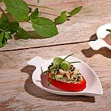 Fingerfood - Teller, Zuckerrohr pure 8 cm x 6 cm weiss Leaf, Papstar (85209)